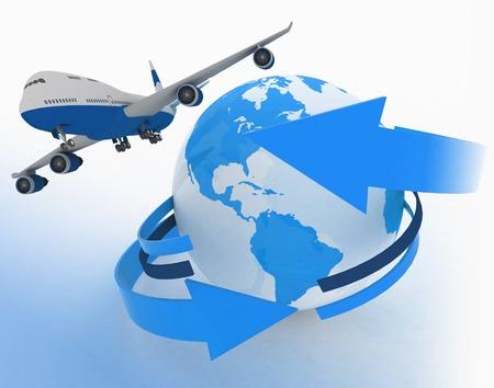 the passenger: Passenger jet airplane travels around the world Stock Photo