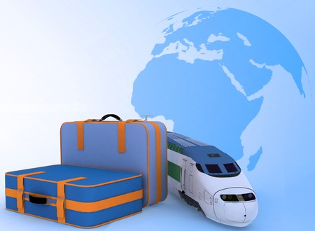 conception: Suitcases and train. Conception of journey on a railway Stock Photo