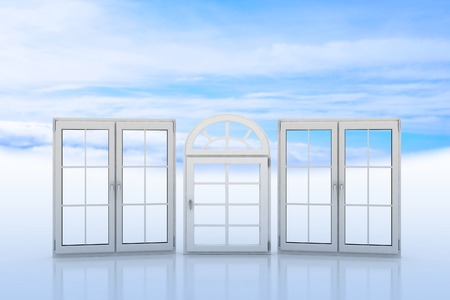 bow window: White windows with blue sky and clouds on the background