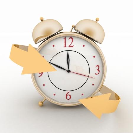 alarmclock: Alarm-clock with arrows. 3d isolated icon on white Stock Photo