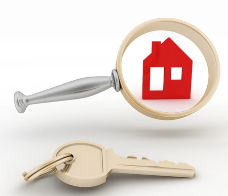 residence: Magnifying glass inspects a home. Concept of search of house for residence, real estate investment, inspection. Stock Photo