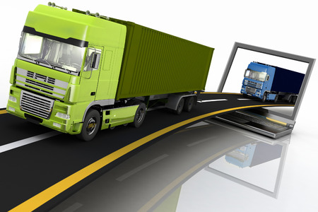 move controller: Trucks on freeway coming out of a laptop. 3d render illustration. Concept of logistics, delivery and transporting by freight motor transport.