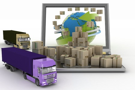 dispense: Cardboard boxes around the globe on a laptop screen and two trucks. Concept of online goods orders worldwide