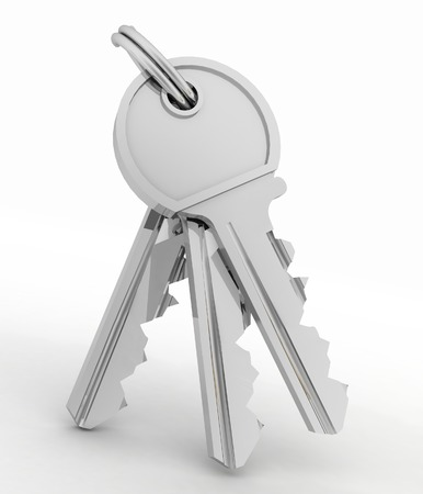 in copula: Bunch of keys from house isolated on white background Stock Photo