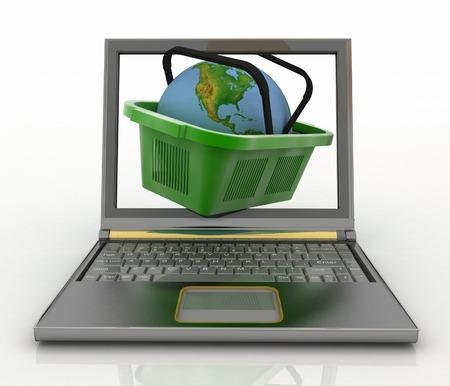 commodities: Cesta de la visita de la tienda con el globo en un cuaderno. Concepto de las compras de productos en Internet en todo el mundo. 3d ilustración. Foto de archivo