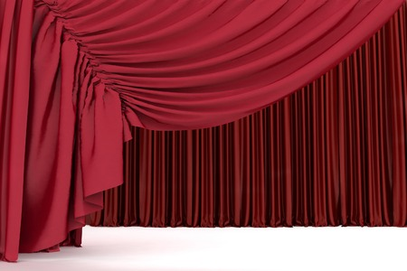 theatrical performance: Open crimson theater curtain with light and shadows of the open, background