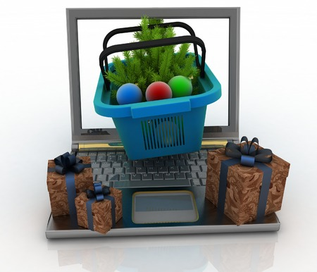 shopping baskets: Concept of Christmas online shopping. 3d illustration. Laptop computer with festive shopping baskets on white background