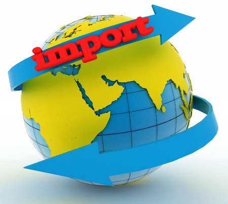 business direction: Import arrow around earth for business. Direction concept. 3d illustration on white background