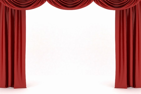 curtain background: Background image of red silk stage curtain on theater