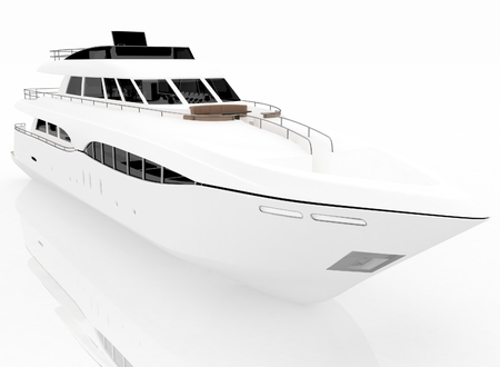 yacht isolated: White pleasure yacht isolated on a white background