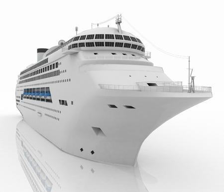 lifeboats: Luxury white cruise ship. 3d render illustration Stock Photo