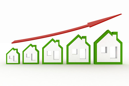 그래프에 표시된 부동산에서 성장. 3D 그림 스톡 콘텐츠
