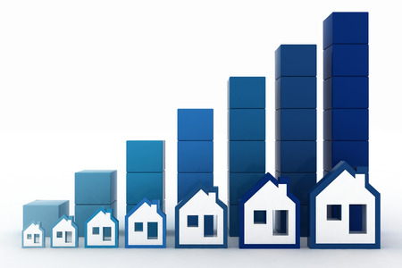 upgrowth: Diagram of growth in real estate prices Stock Photo