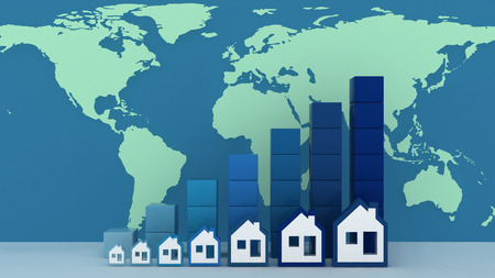upturn: Diagram of growth in real estate prices in the world