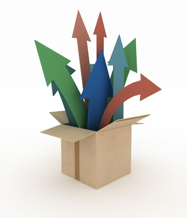 emerge: 3d image of colorful arrows emerge out of the box Stock Photo
