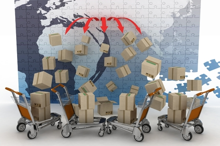 overnight delivery: Conception of logistic is in world trade. 3d illustration on white background Stock Photo