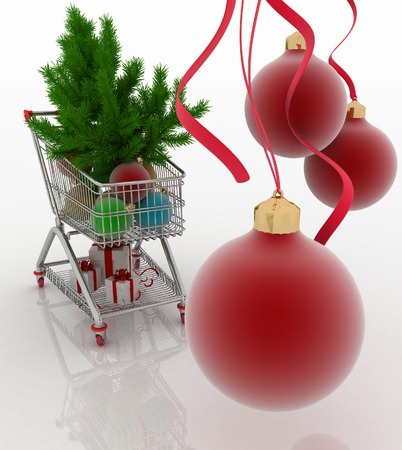 firtree: Shopping cart full with christmas balls with fir-tree and gift boxes Stock Photo