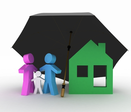 conception: Conception of life-insurance and property. 3d illustration