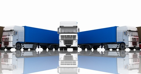 semitrailer: Trucks with semi-trailer isolated on white background