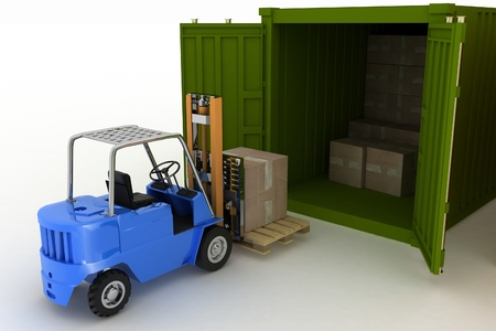 loads: 3d render. Loader loads in the container of box