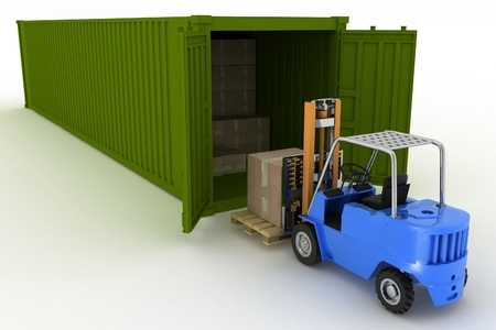 container box: 3d render. Loader loads in the container of box