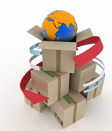 questionable: 3d cardboard boxes around globe on white background. Worldwide shipping concept.