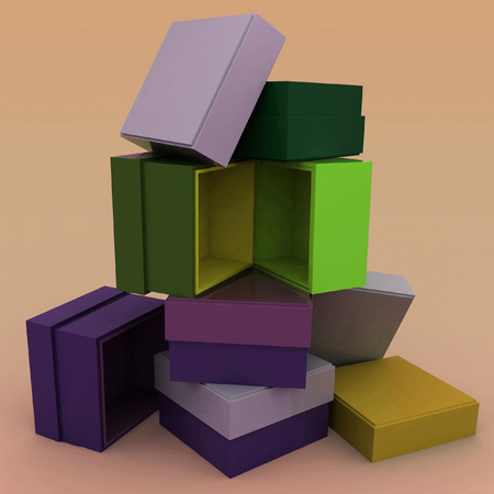 noname: 3D empty boxes with cover for gifts