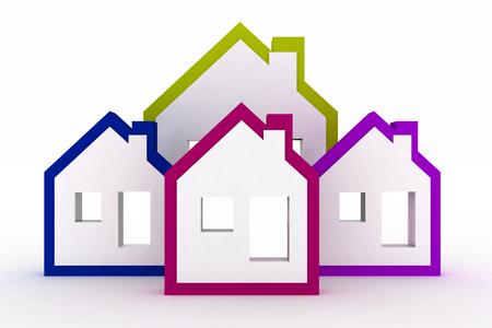 residency: 3d models houses symbol Stock Photo