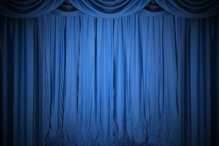 comedy: Background image of blue silk stage curtain on theater