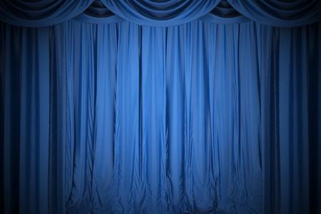 teatro: Imagen de fondo de color azul telón de seda en el teatro Foto de archivo