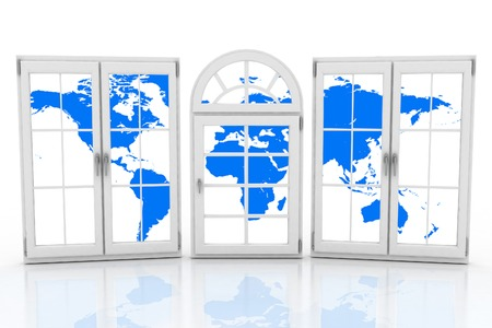 glazing: 3d closed plastic windows wiht map of world on white background
