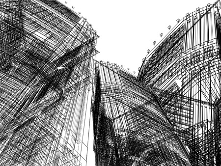 financial district: Abstract Building. 3D render background Stock Photo