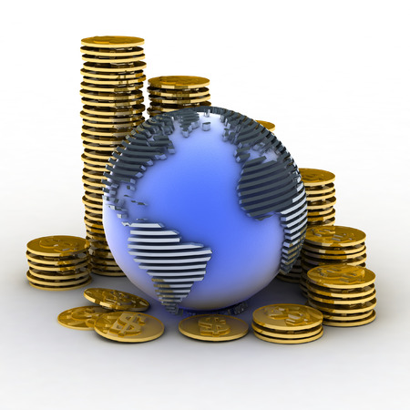 gold globe: Globe with many gold coins Stock Photo