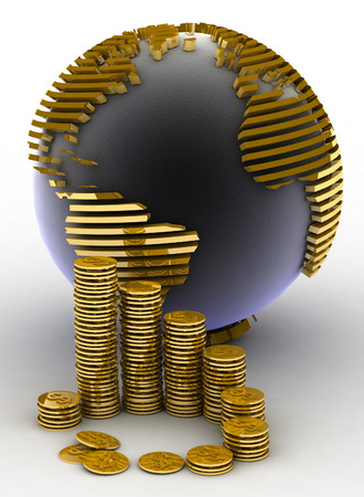 gold globe: Gold globe with many gold coins Stock Photo