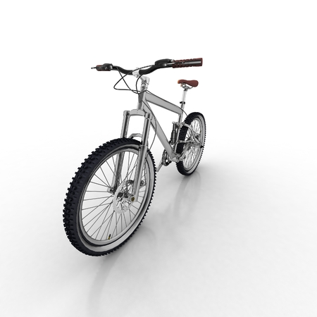 a two wheeled vehicle: Bicycle isolated on white background with reflection