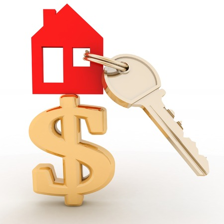 house prices: The house with a key on a dollar sign. Concept real estate prices in the world Stock Photo