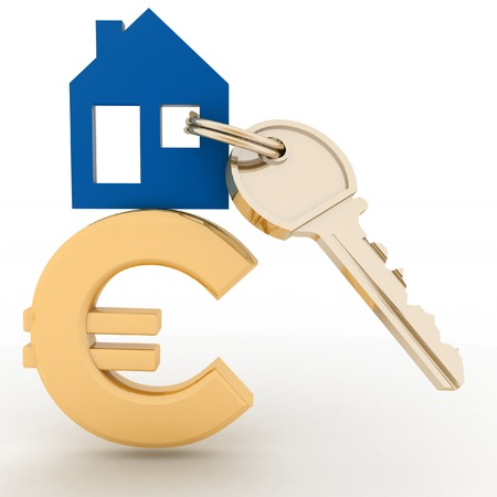 house prices: The house with a key on a euro sign. Concept real estate prices in the Europe