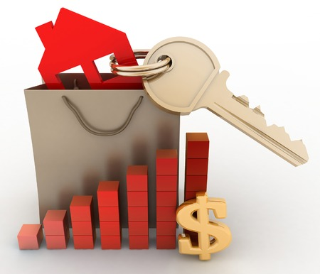 real world: House with a key in a paper bag and a diagram. The concept of growth real estate prices in the world Stock Photo