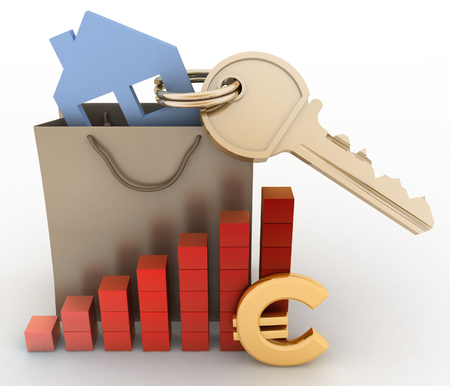 house prices: House with a key in a paper bag and a diagram. The concept of growth real estate prices in the Europe Stock Photo
