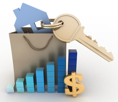 house prices: House with a key in a paper bag and a diagram. The concept of growth real estate prices in the world Stock Photo
