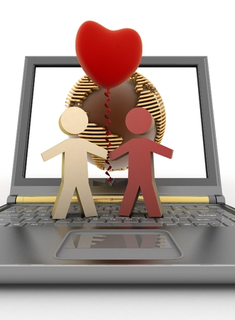 acquaintance: Couple with a balloon in the form of heart on laptop Stock Photo