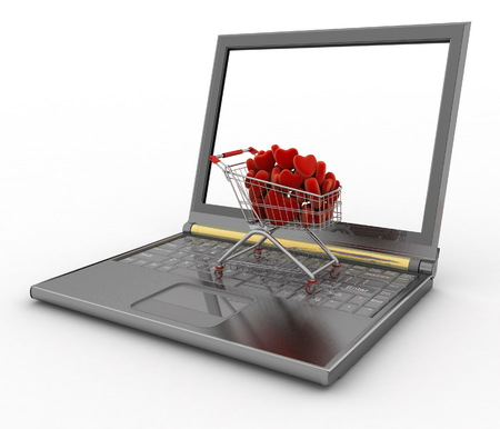 supermarket trolley: Supermarket trolley full of red hearts on laptop. 3d illustration