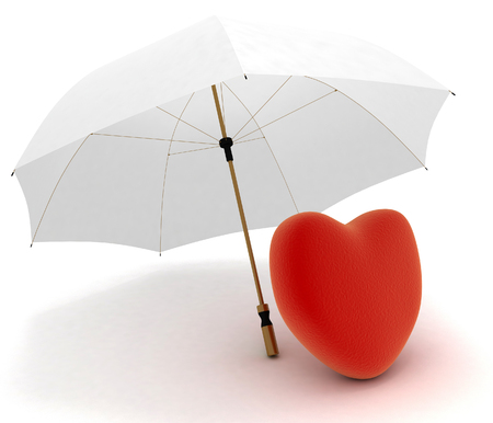 heart under: Red heart under umbrella on white background