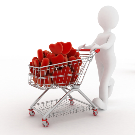 pushcart: 3d person with red hearts on supermarket pushcart. Rendered on white.