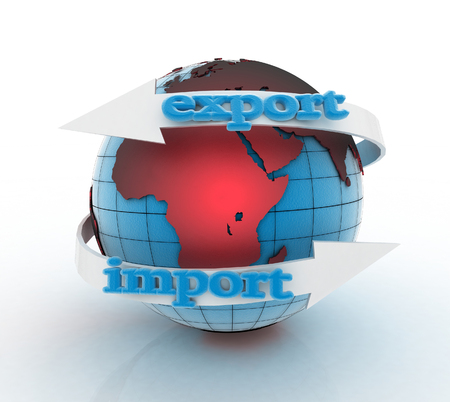 import trade: Export and Import arrow around earth for business. Direction concept. 3d illustration on white background