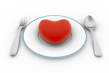 wedding reception decoration: Heart on plate isolated on white background