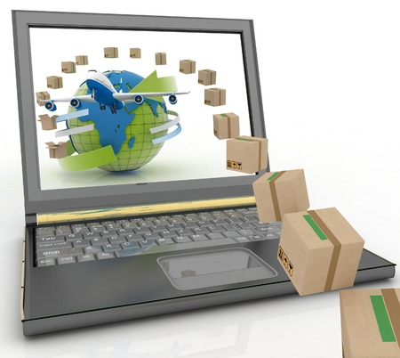 distribute: Cardboard boxes, globe on a laptop screen and airplane. Concept of online goods orders worldwide