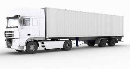 白い背景に分離されたセミトレーラーのトラック