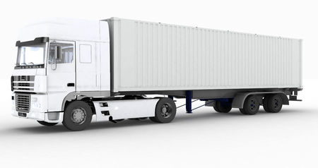 truckload: Truck with semi-trailer isolated on white background