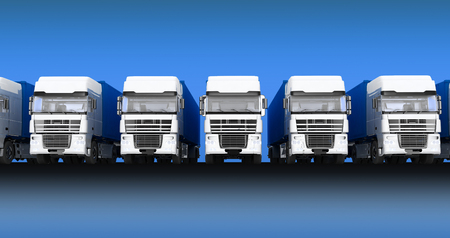 autotruck: Trucks with semi-trailer isolated on blue sky background Stock Photo